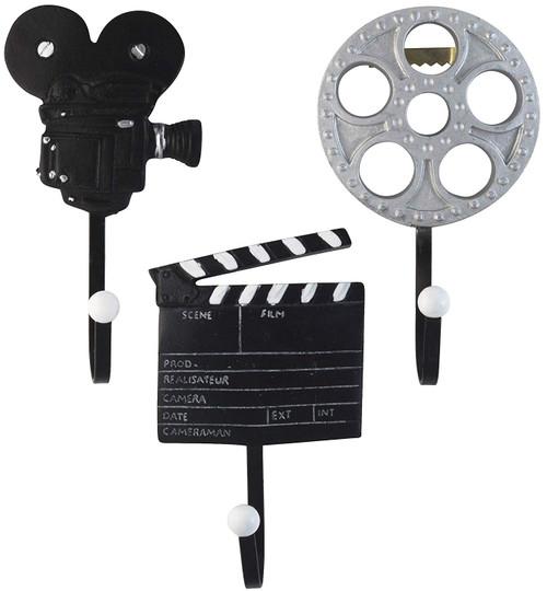 Vintage Films Movie Reel, Clapper Board and Cinema Camera Resin Wall Coat Hooks (Set of 3)