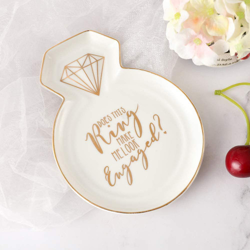 Ring-Shaped Engagement Ceramic Trinket Plate and Decorative Jewelry Dish