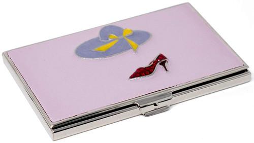 Red Heel and Hat Enameled Slim Business Card Holder