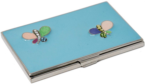 Abstract Butterfly Enameled Slim Business Card Holder