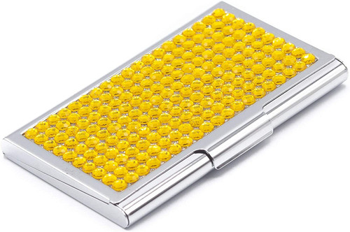 Business Card Case With Jonquil Crystal Rhinestones - Slim Fit