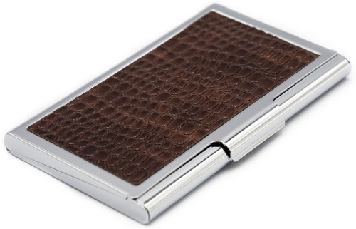 Slim Faux Brown Snake Leather Business Card Holder