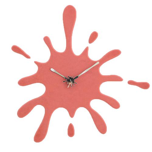 """Modern Minimalist Red Ink Splash Silent Wall Clock (19.5"""" X 18.8"""")"""