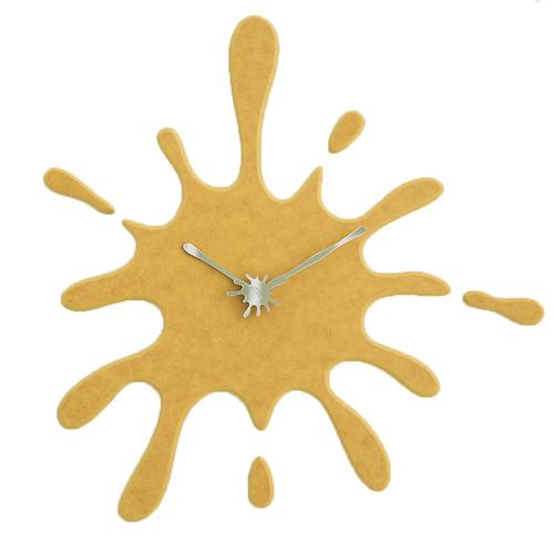"Modern Minimalist Yellow Ink Splash Silent Wall Clock (19.5"" X 18.8"")"