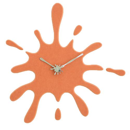 "Modern Minimalist Orange Ink Splash Silent Wall Clock (19.5"" X 18.8"")"