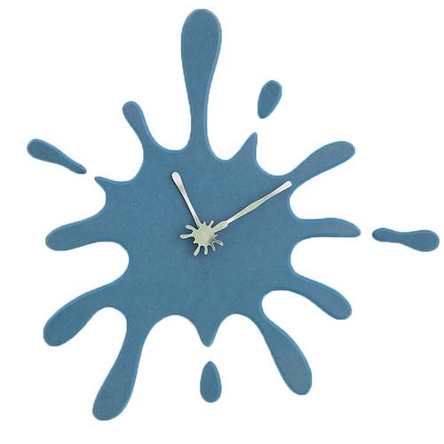 """Modern Minimalist Blue Ink Splash Silent Wall Clock (19.5"""" X 18.8"""")"""