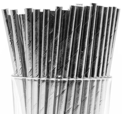 Silver Foil Wrapped Paper Straws