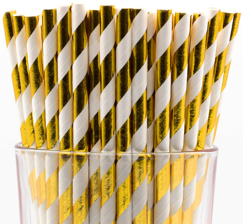 Pack of 150 Gold Foil Swirls Biodegradable 4-Ply Paper Drinking Straws (Compostable, Non-toxic, BPA-free)