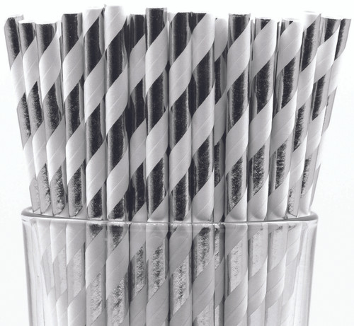 Pack of 150 Silver Foil Swirls Biodegradable 4-Ply Paper Drinking Straws (Compostable, Non-toxic, BPA-free)