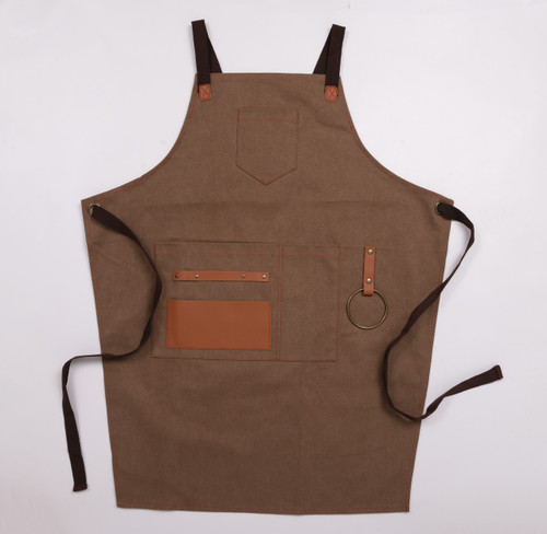 Stephanie Imports Adjustable Cross Back Tan & Faux Leather Kitchen Apron with Pockets (Unisex)