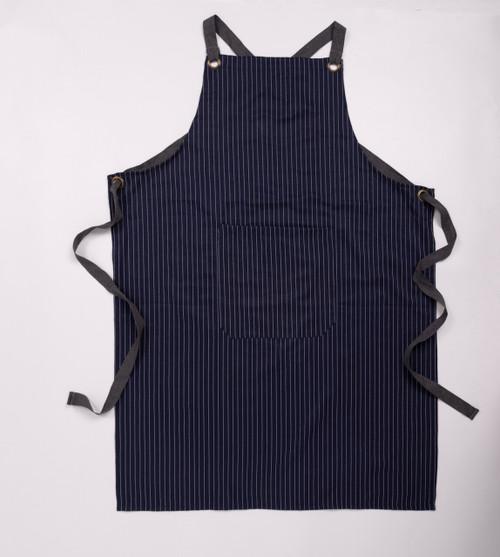 Stephanie Imports Adjustable Cross Back Blue Stripes Cotton Kitchen Apron with Pockets (Unisex)