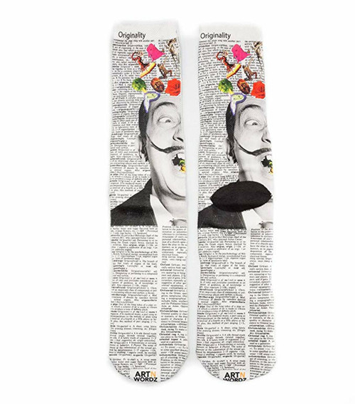 Made In USA Wearable Art Unisex Hello Dali Crew Socks (One Size Fits Most 6-12)