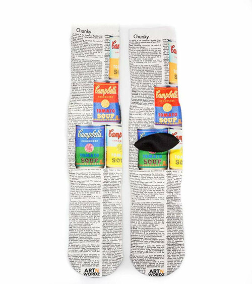 Made In USA Wearable Art Unisex Campbell's Soup Crew Socks (One Size Fits Most 6-12)