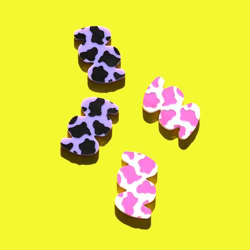 Cow Print Squiggle Hair Clips