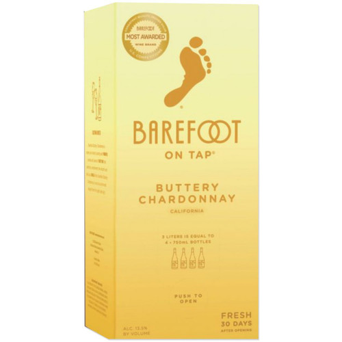 Barefoot On Tap Buttery Chardonnay 3L Box