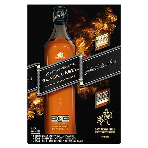 Johnnie Walker 12 Year Black Label Blended Scotch Whisky 750mL Gift Pack
