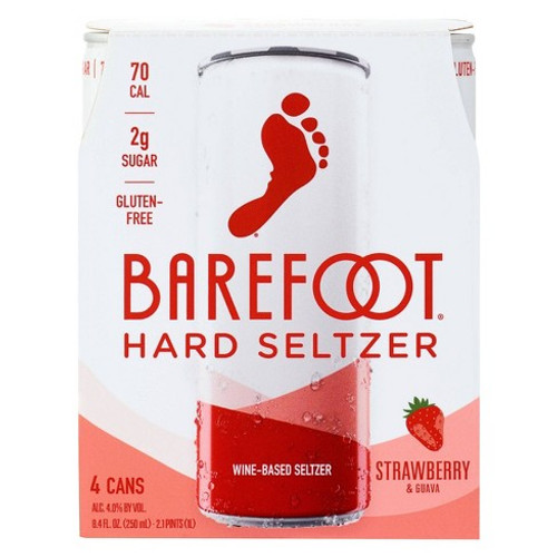 Barefoot Hard Seltzer Strawberry & Guava 8.4 fl oz 4pk