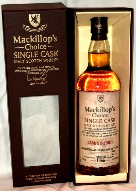 Mackillop's Choice 1966 Tomintoul Cask Strength Malt Scotch Whisky 750mL