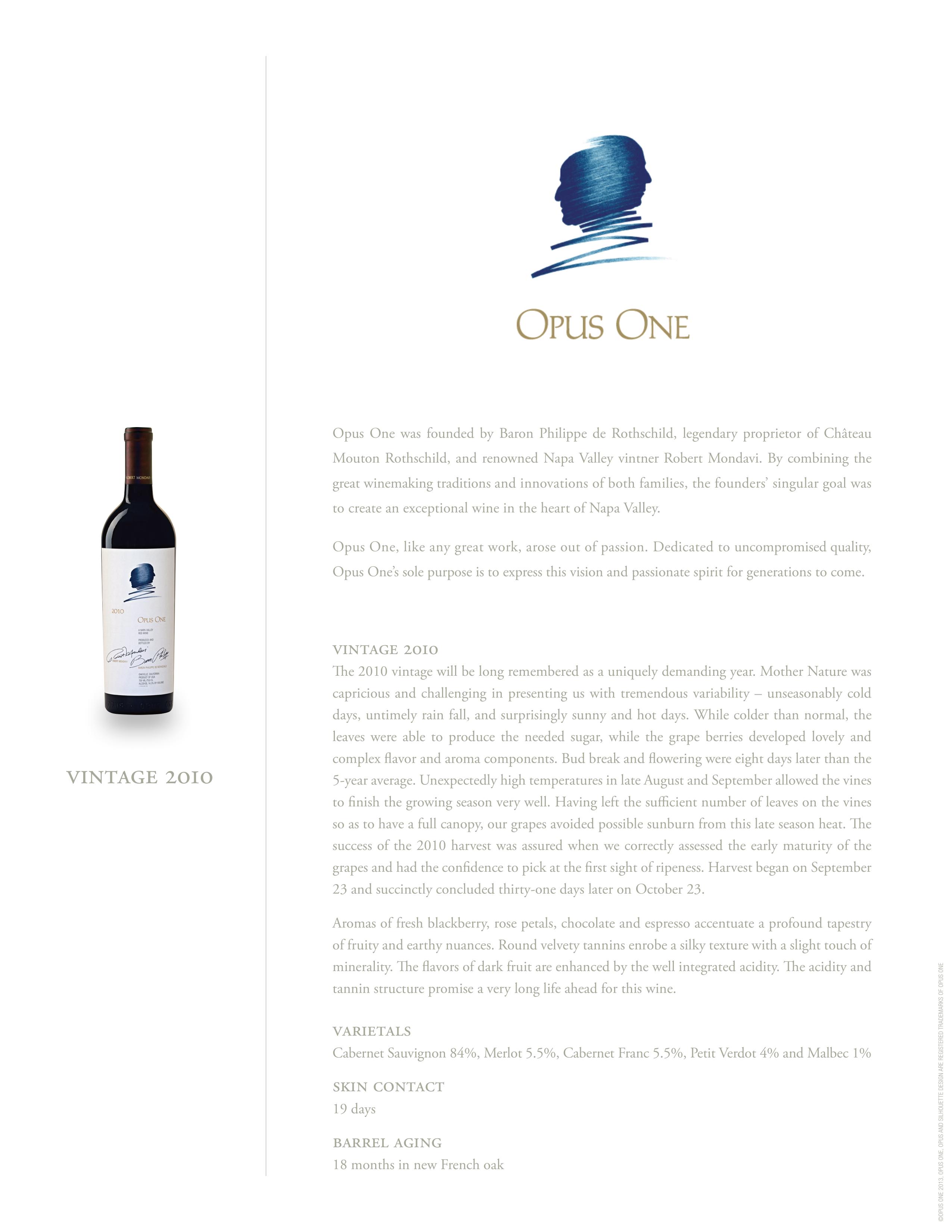 Opus One 2010 Napa Valley Proprietary Red Wine 750mL