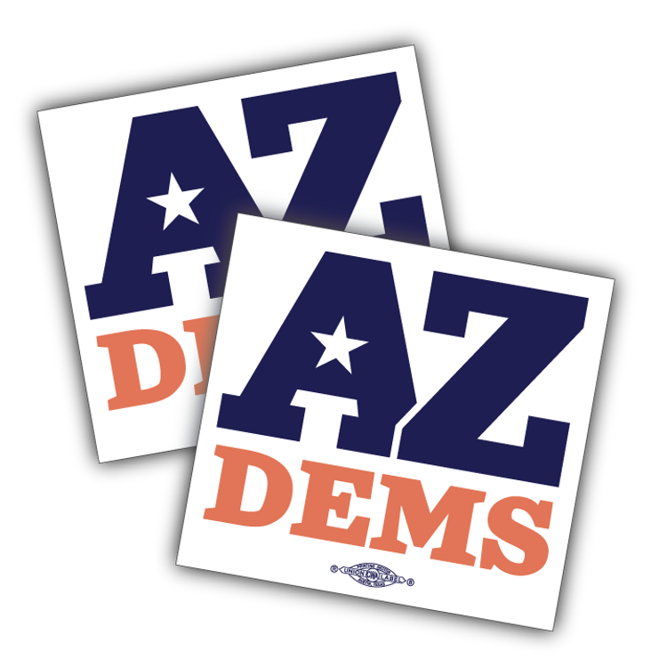 "Arizona Democratic Party Official Logo (4"" x 4"" Vinyl Sticker -- Pack of Two!)"