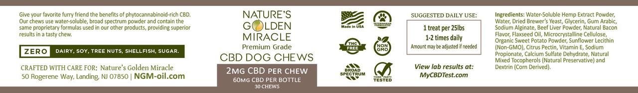 CBD Dog Treats Label - THC FREE - 30 Treats per jar