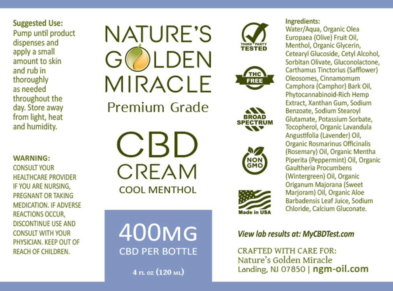 Nature's Golden Miracle Hemp Cream Label