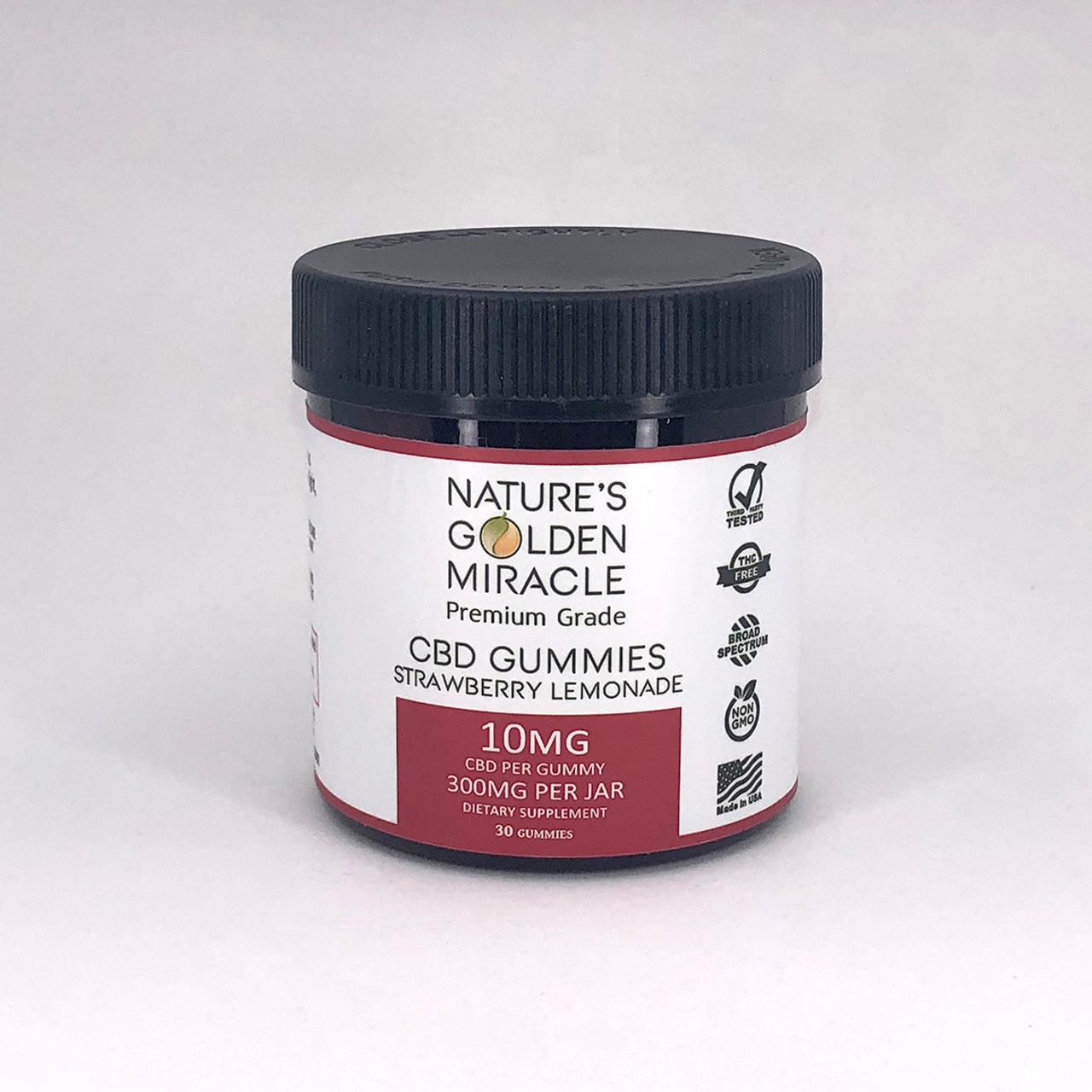 Nature's Golden Miracle premium grade THC-free strawberry lemonade CBD Gummies