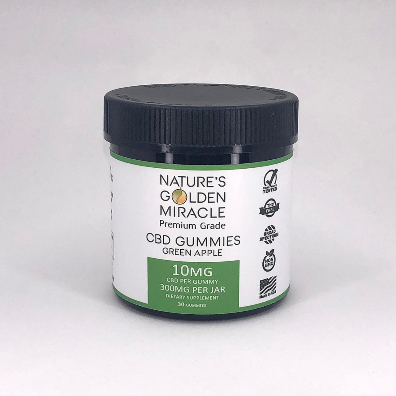 Nature's Golden Miracle premium grade THC-free green apple CBD Gummies