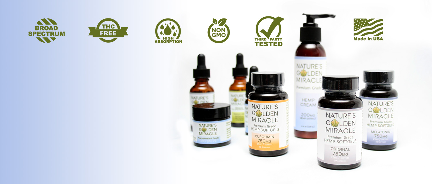 Nature's Golden Miracle Hemp Extract CBD - Broad Spectrum - THC FREE - Third Party Tested - High Absorption - 100% Money Back Guarantee - Free Domestic Shipping