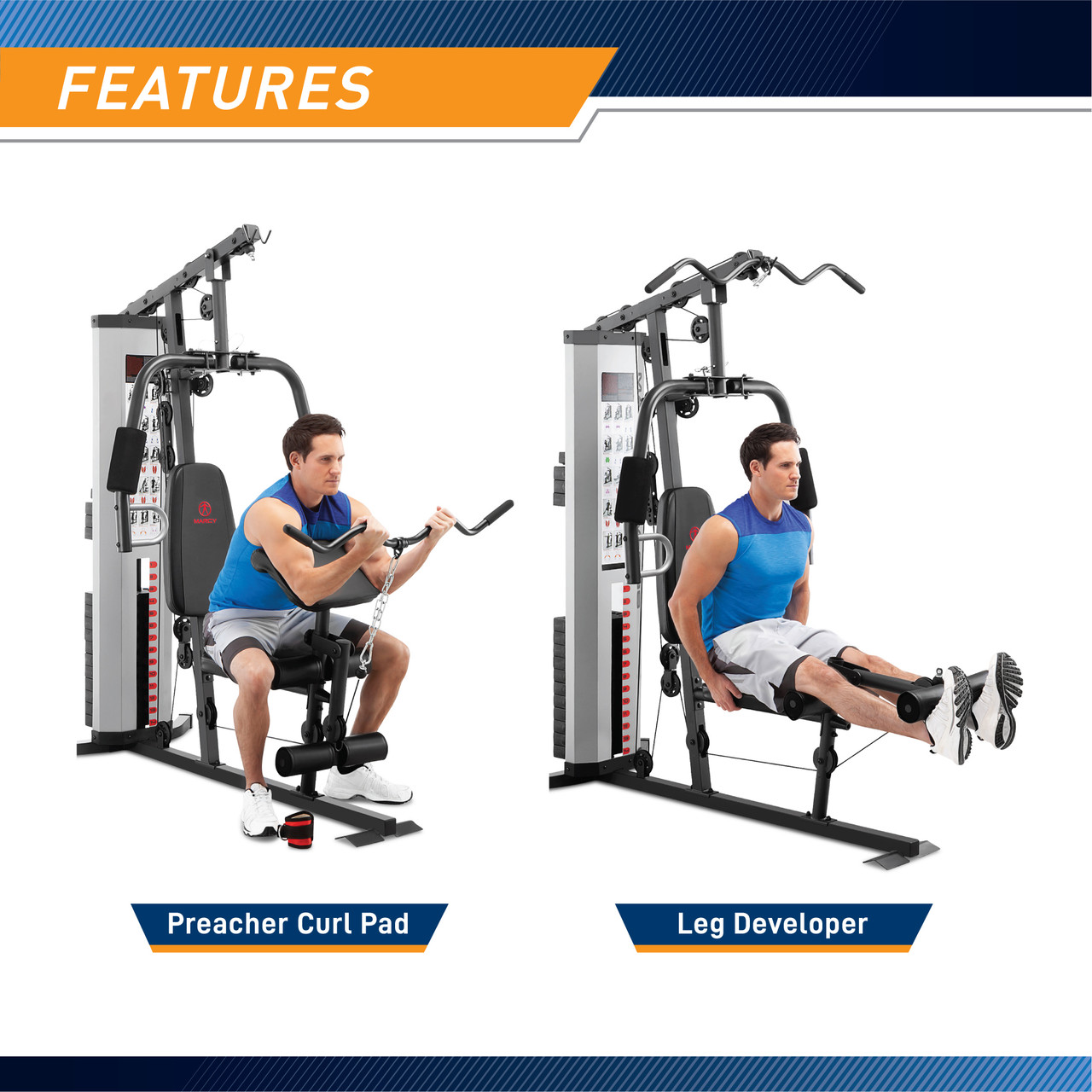 The Marcy 150 Lb Weight Stack Home Gym - MWM-988 includes a lat bar for back workouts
