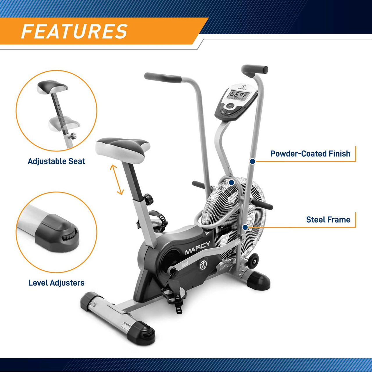 The Marcy AIR-1 Deluxe Fan Bike has adjustable levelers to avoid any imbalances during your workout