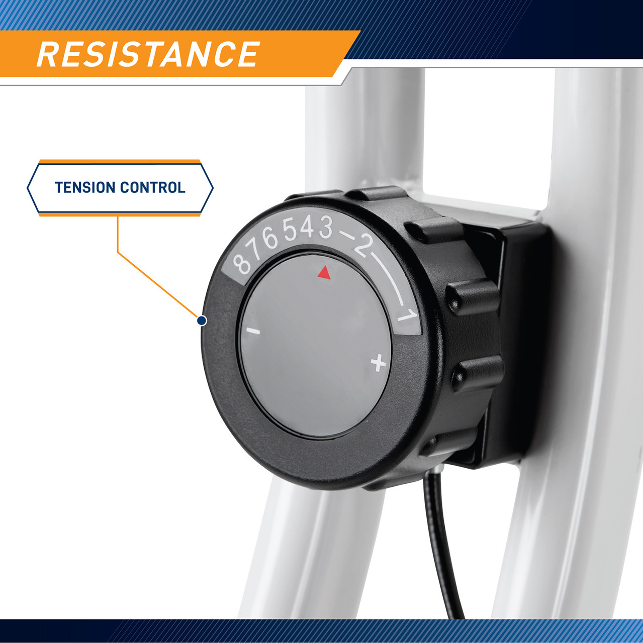 Easily adjust the resistance on the Foldable Upright Bike Marcy NS-652 by simply turning the resistance knob