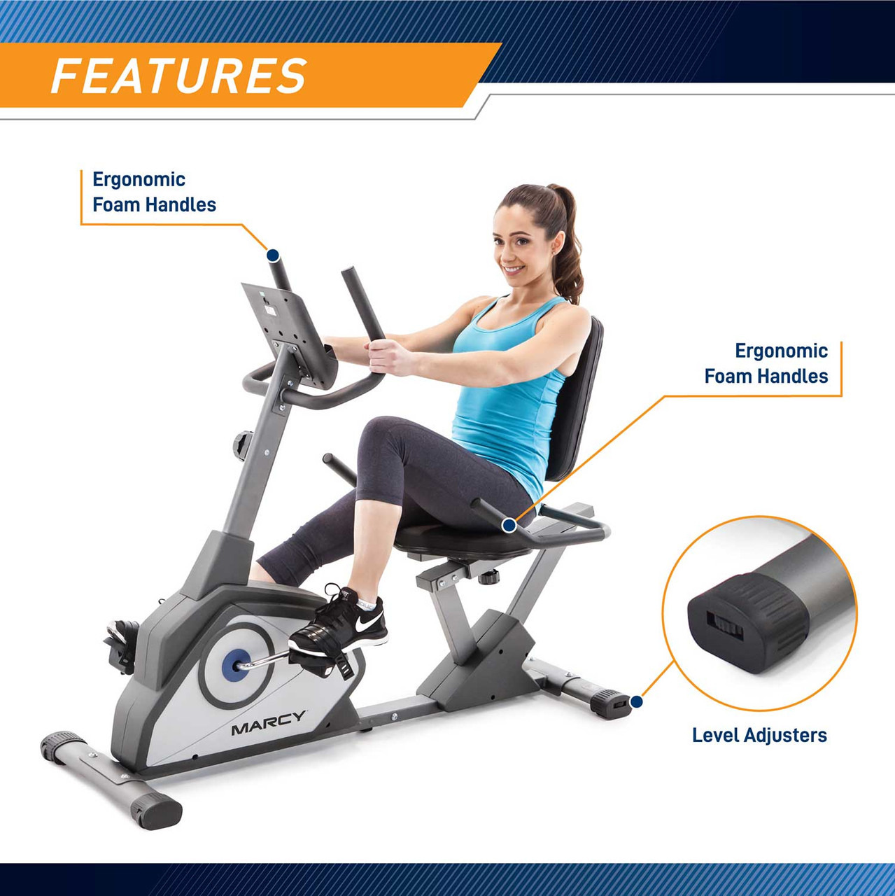 The Recumbent Bike NS-40502R by Marcy has ergonomic handles for comfortable grip