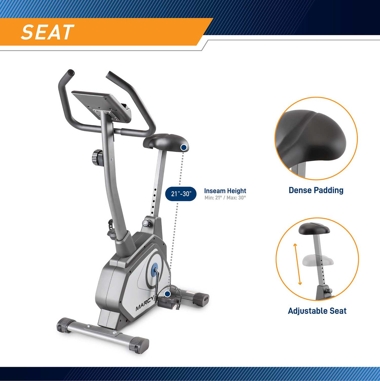 The Magnetic Upright Bike NS-40504U by Marcy has an adjustable seat