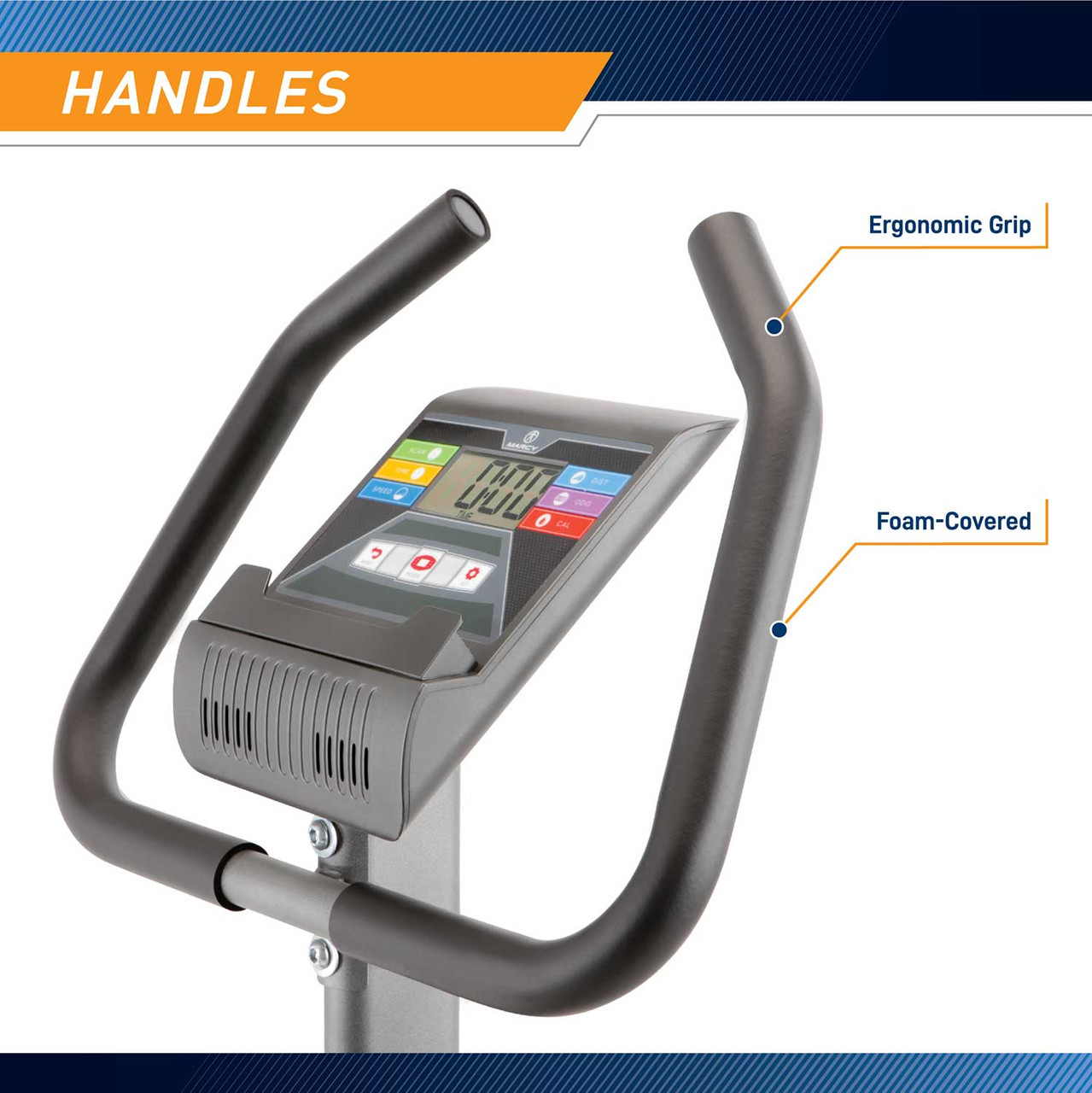 The Magnetic Upright Bike NS-40504U by Marcy has ergonomic handles