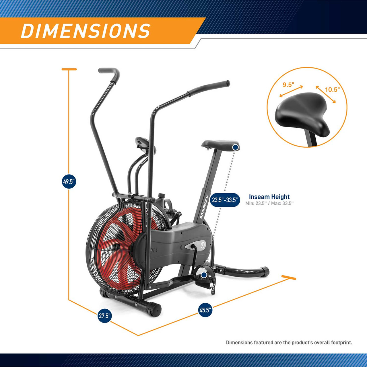 The Marcy Fan Bike NS-1000 has an adjustable seat to fit any user