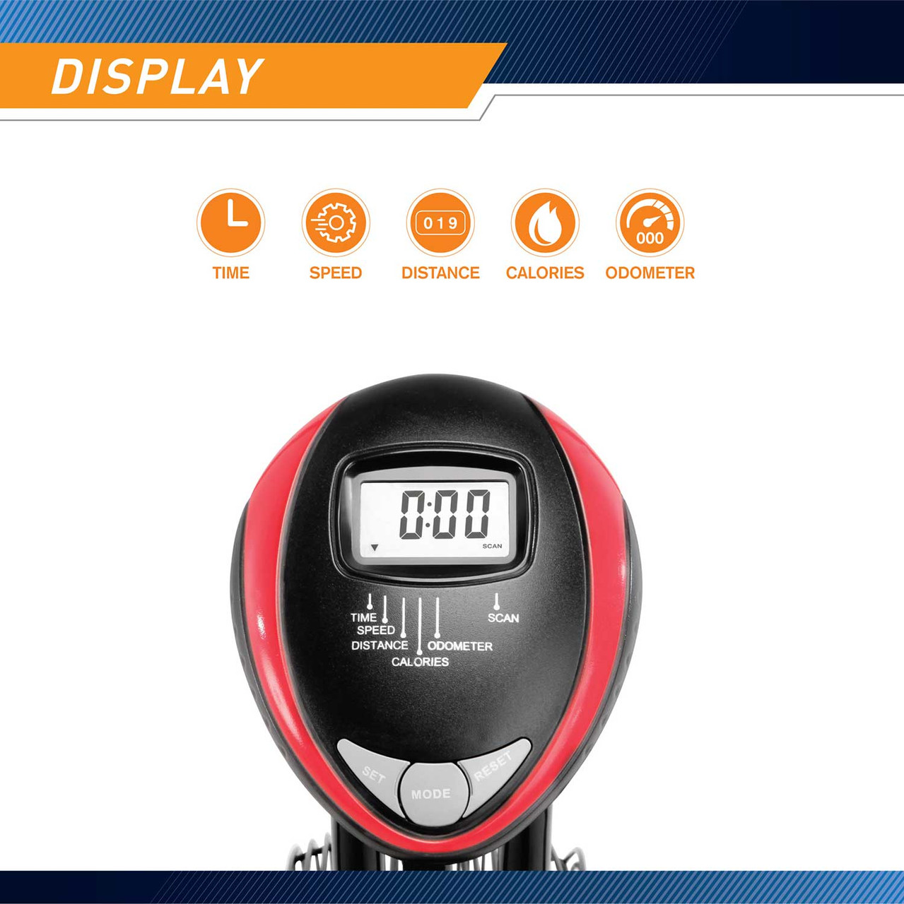 The Marcy Fan Bike NS-1000 has a digital display to keep track of your progress
