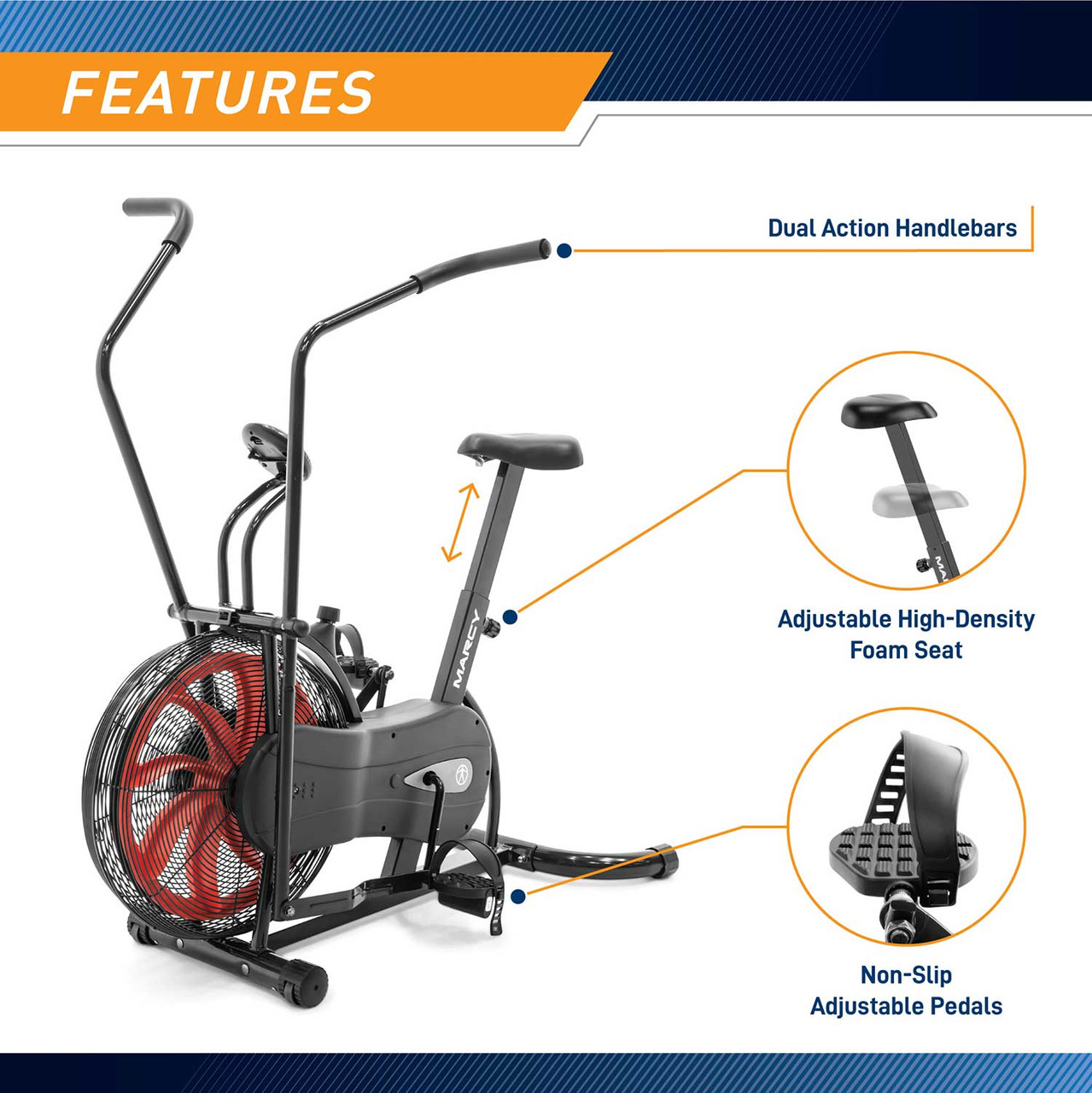 The Marcy Fan Bike NS-1000 has ergonomic handles made with comfort in mind