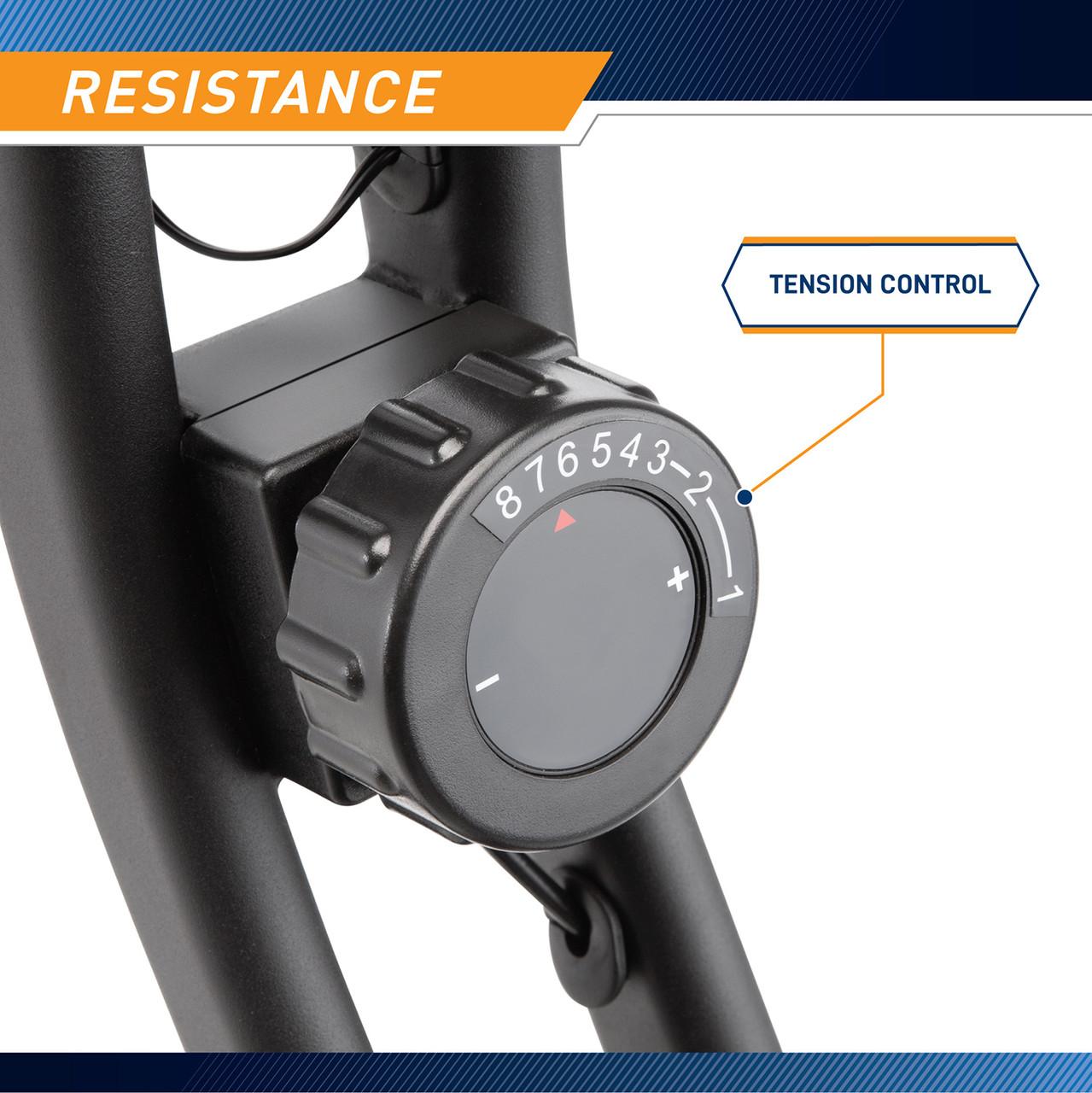 The Foldable NS-654 Bike has an adjustsable tension knob