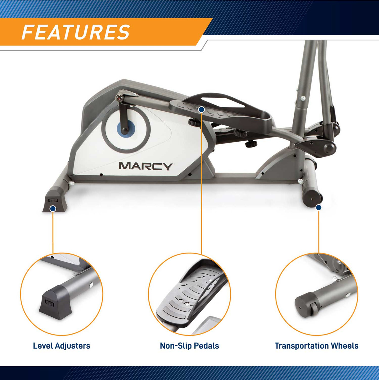 The Marcy NS-40501W Elliptical Trainer has large pedals with grip for increased safety