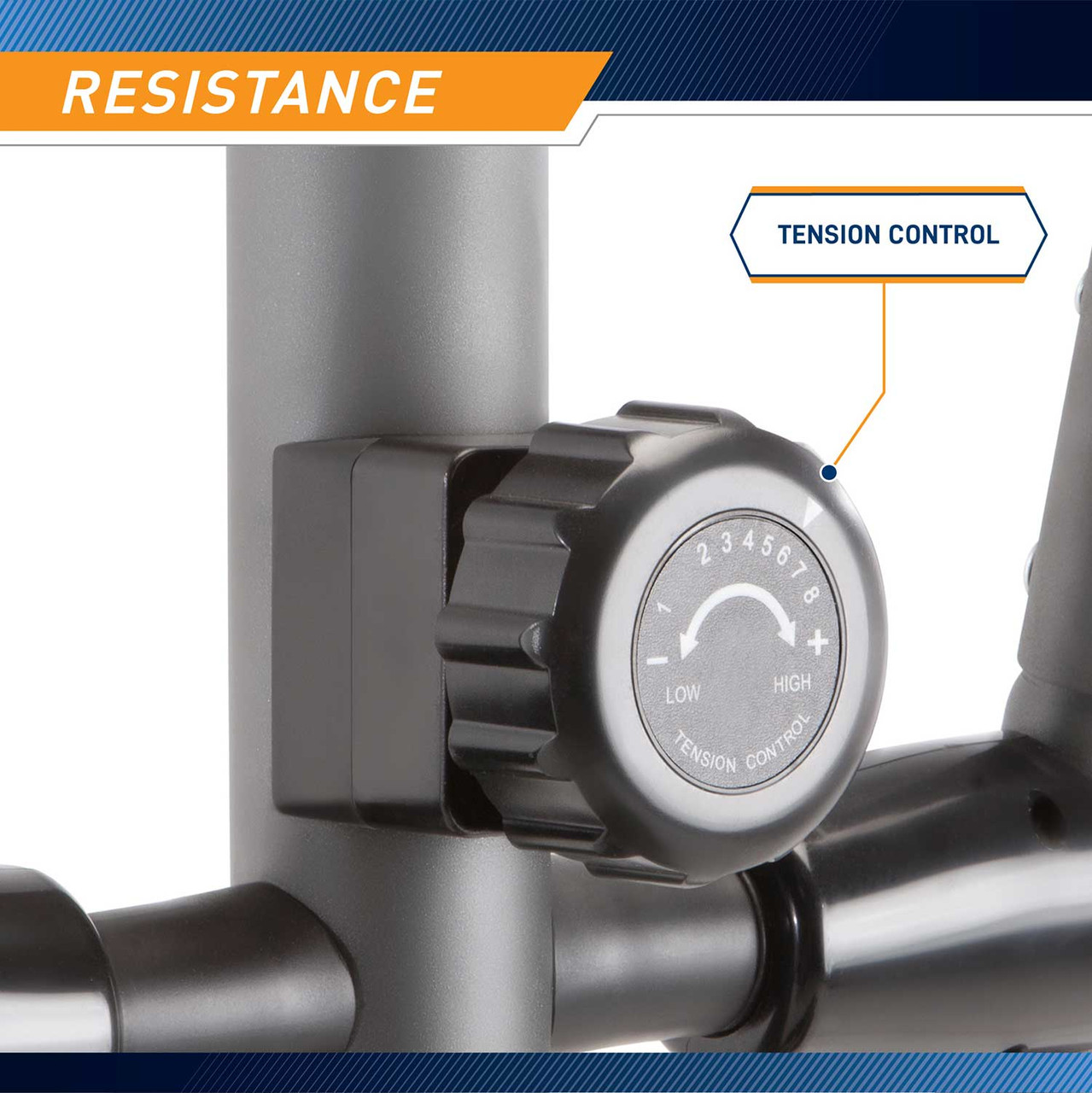 The Marcy NS-40501W Elliptical Trainer is easily adjustable using the resistance knob