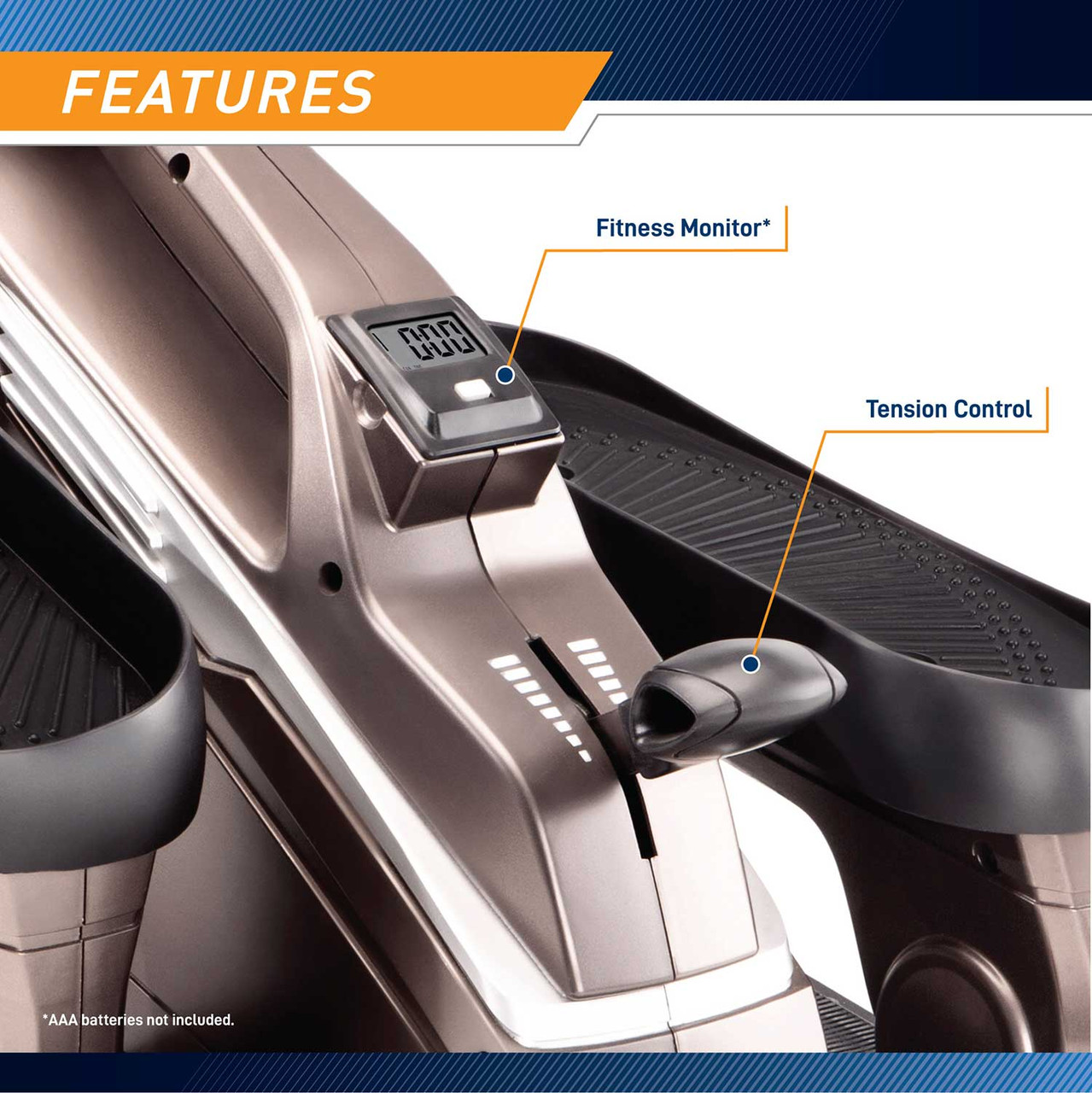 Bionic Body Compact Elliptical Trainer with Resistance Tubes has adjustable tension