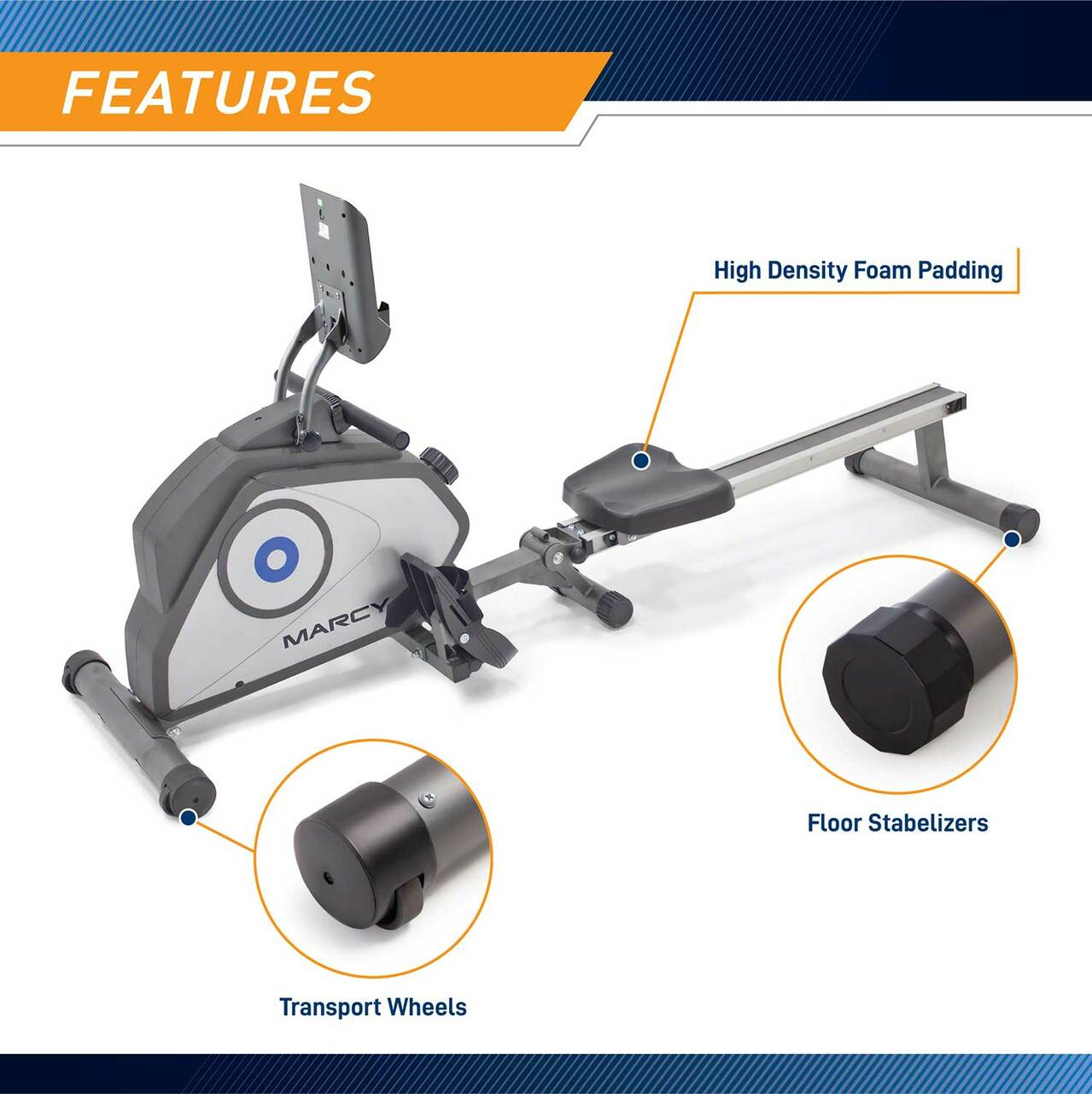 The Rowing Machine Marcy NS-40503RW has transportation wheels to help move the rower easily