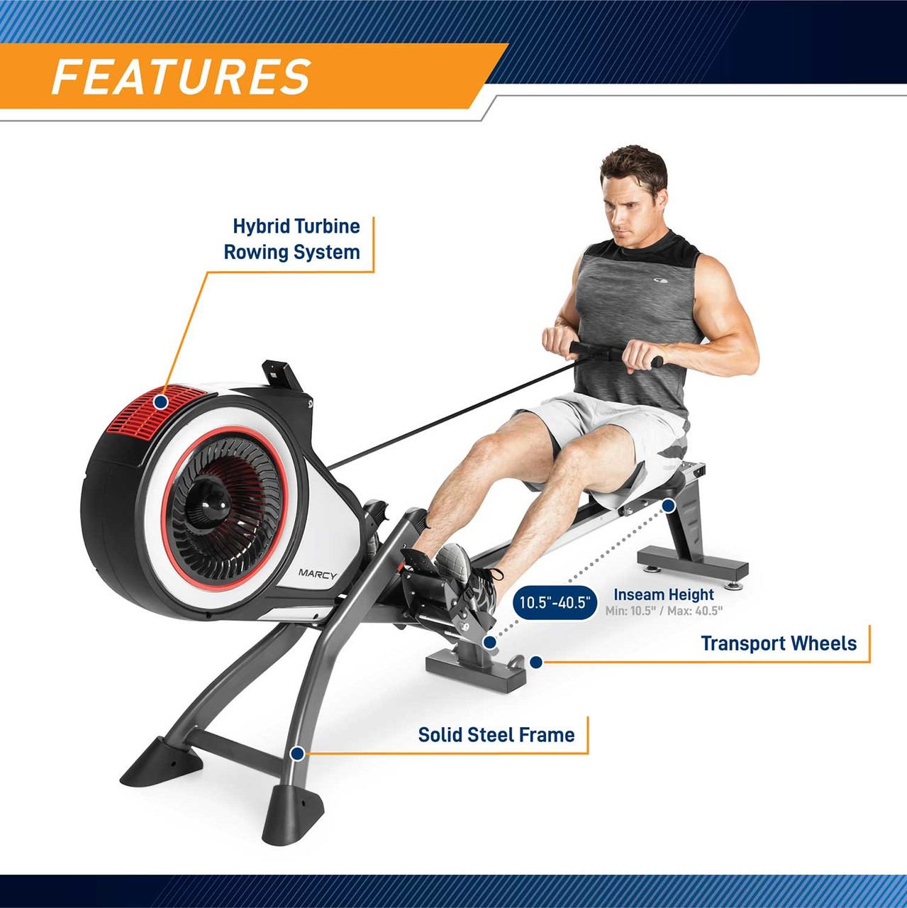 The Marcy Turbine Rower NS-6050RE has a comfortable seat