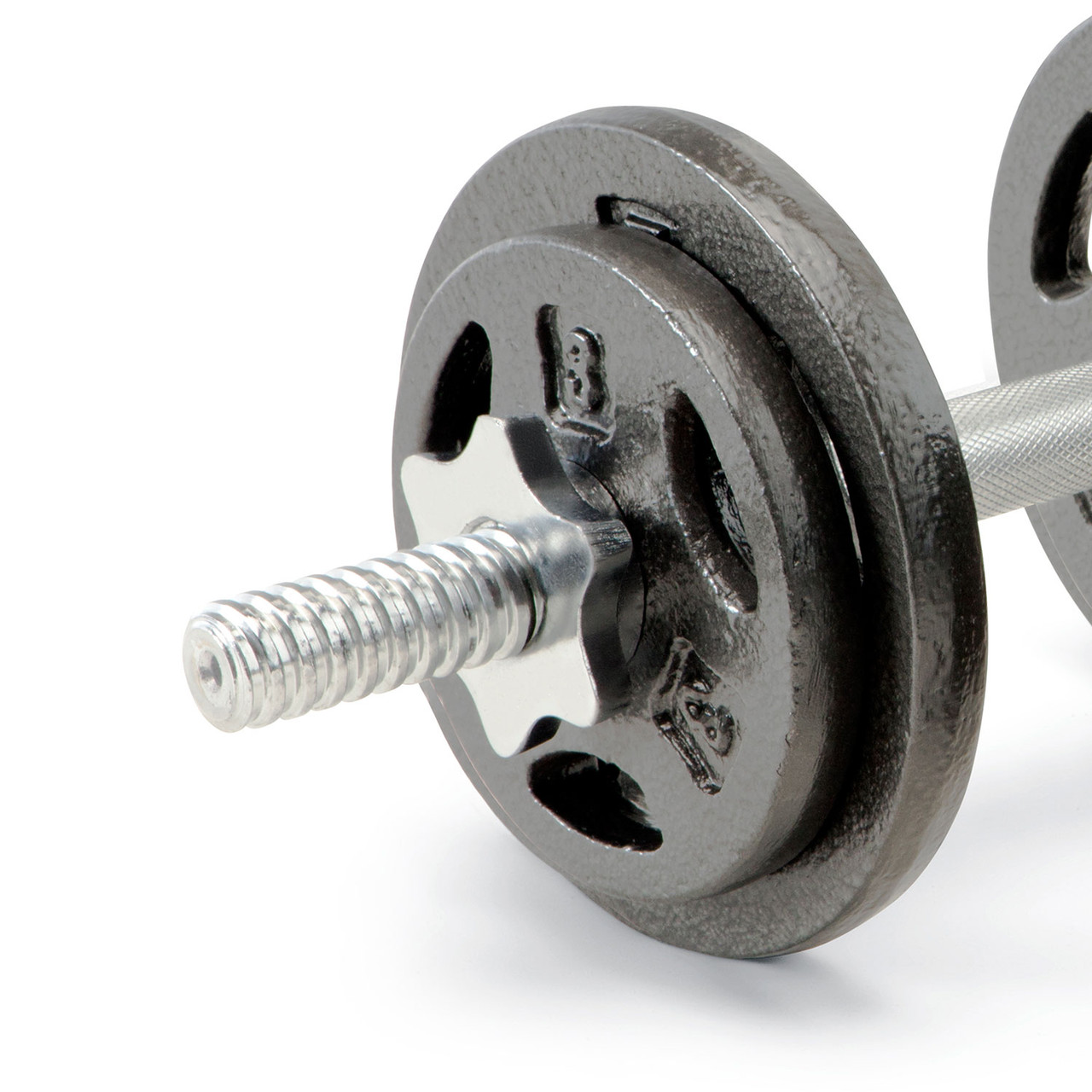 The Marcy Cast Iron Dumbbell set includes spin-lock collars. Add your weight plates to the dumbbell handles and spin the lock on each end to secure your plates.