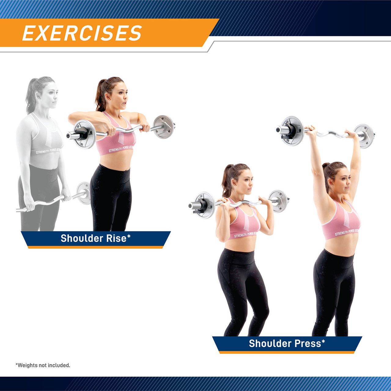Get a full shoulder workout with this curl bar by adding shoulder raises to your routine. Shoulder raises target your shoulder muscles and some back muscles