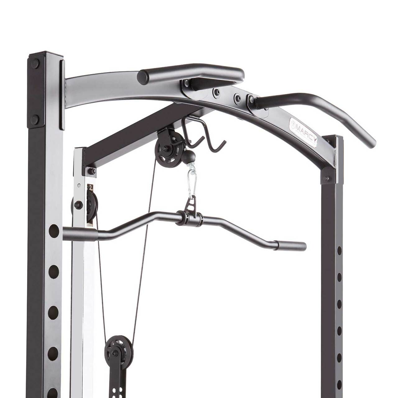 The Marcy Cage Home Gym MWM-7041 includes upper and lower pulleys for a full body workout