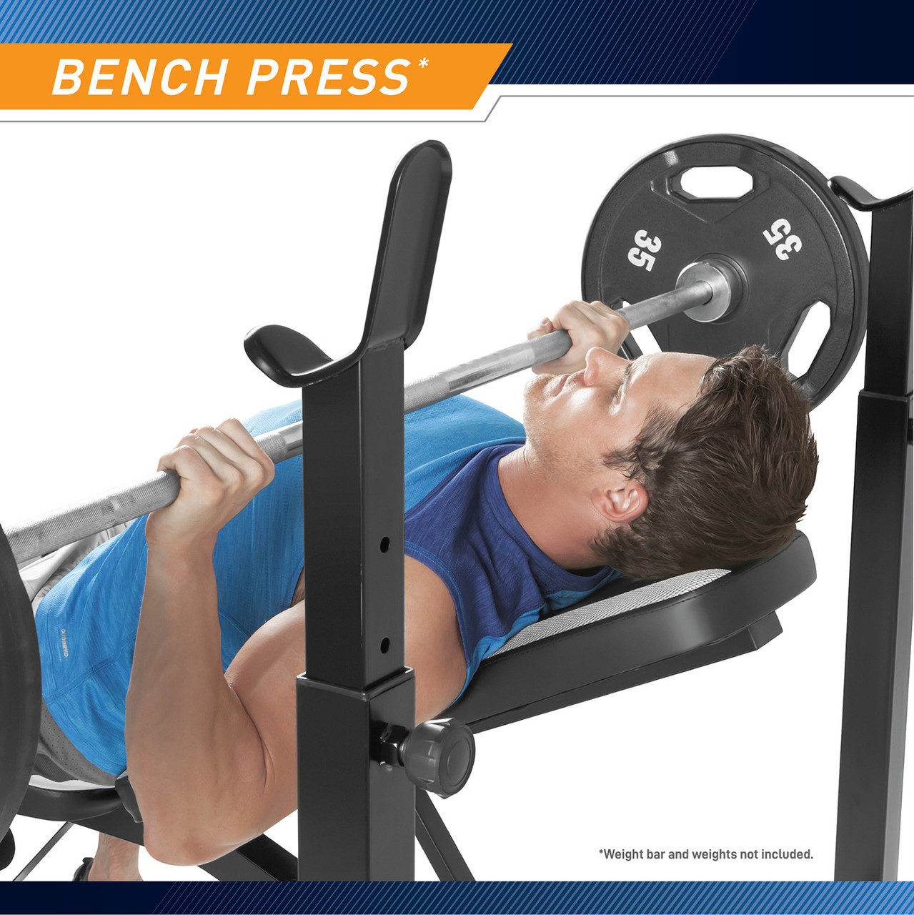 Build stronger and bulkier arms with this multifunctional bench that's also equipped with adjustable crutches with quick release pop pin knobs.
