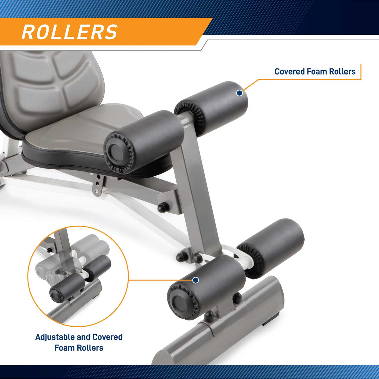 The Marcy Deluxe Utility Bench SB-10100 by Marcy includes roller pads to stabilize your intense workout