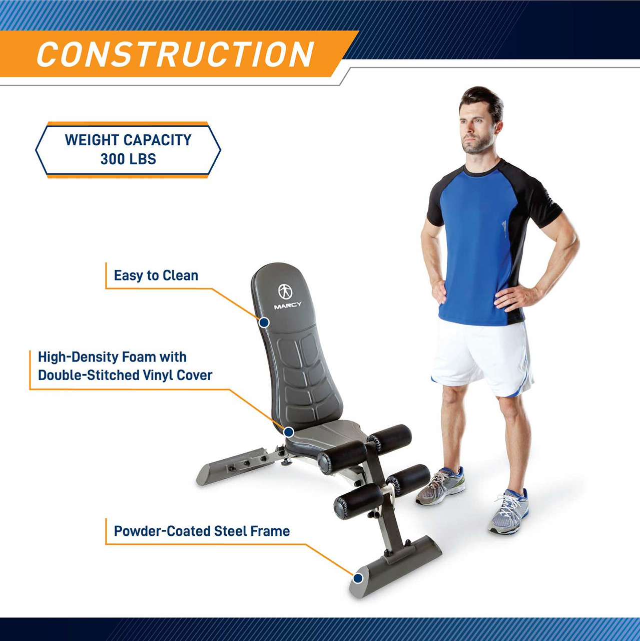 The Marcy Deluxe Utility Bench SB-10100 by Marcy adds variety to your workout with incline, decline, flat and Military positions